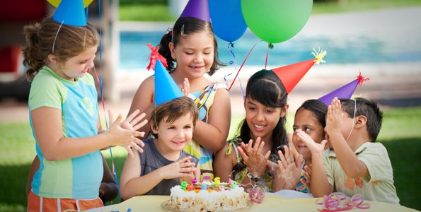 Kids at an active birthday party