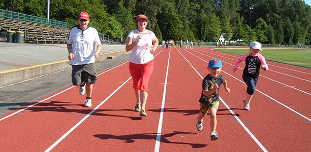 Clare Adams and her family run the 100 m