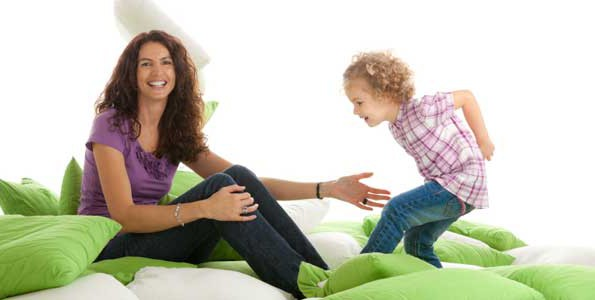 Pillows can be used as islands in fun indoor activities to keep kids moving