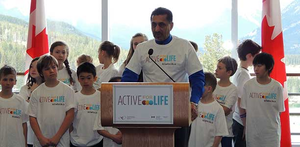 The Honourable Bal Gosal, Canadian Minister of State for Sport, in Banff