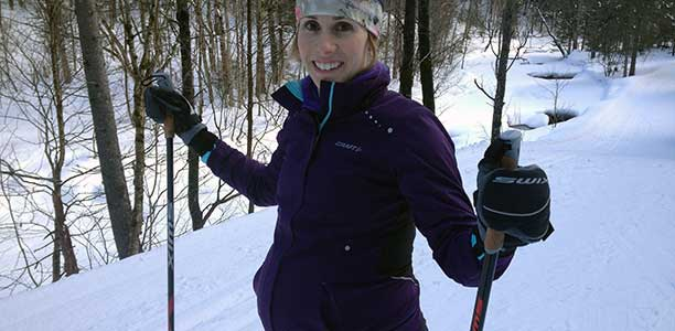Jenn Heil cross-country skiing at Mont Ste Anne.