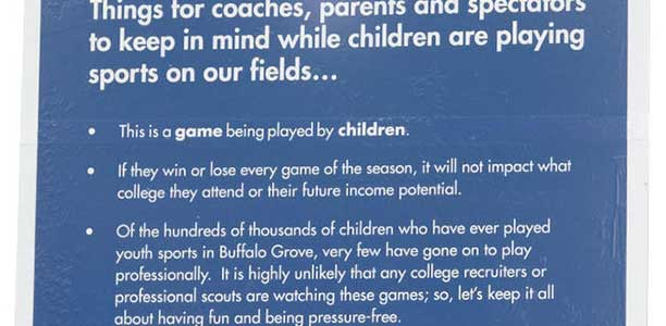 Sign in play areas in Buffalo Grove, Illinois