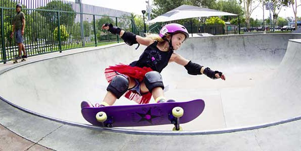Belle Kenworthy is a member of the Pink Helmet Posse, a girls-only skateboard group