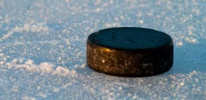 Close up of a hockey puck