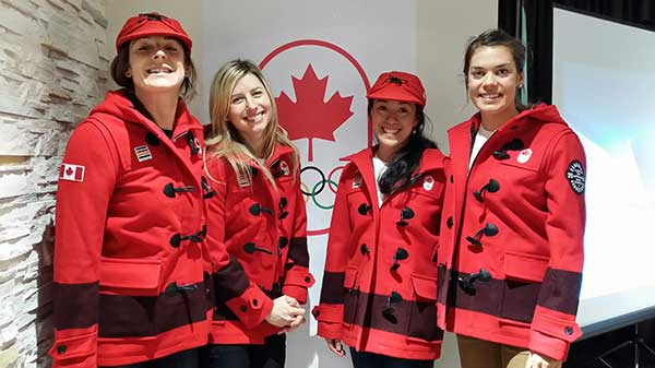 Dasha Gaiazova, Chandra Crawford, Emily Nishikawa, and Heidi Widmer from Canada's cross-country ski team