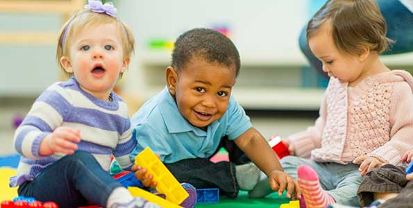 Toddlers involved in structured play