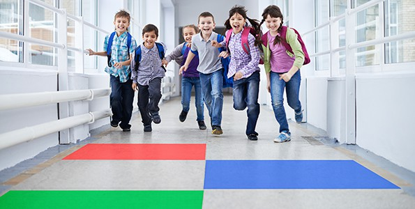 These school children are being encouraged to 'run' in the hallway