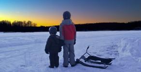 An active winter family adventure in Haliburton, Ontario