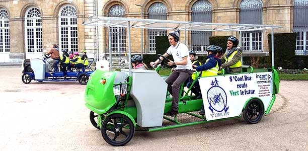 These kids get to school on a pedal-powered bicycle bus