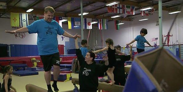 James Corden takes a gymnastics class