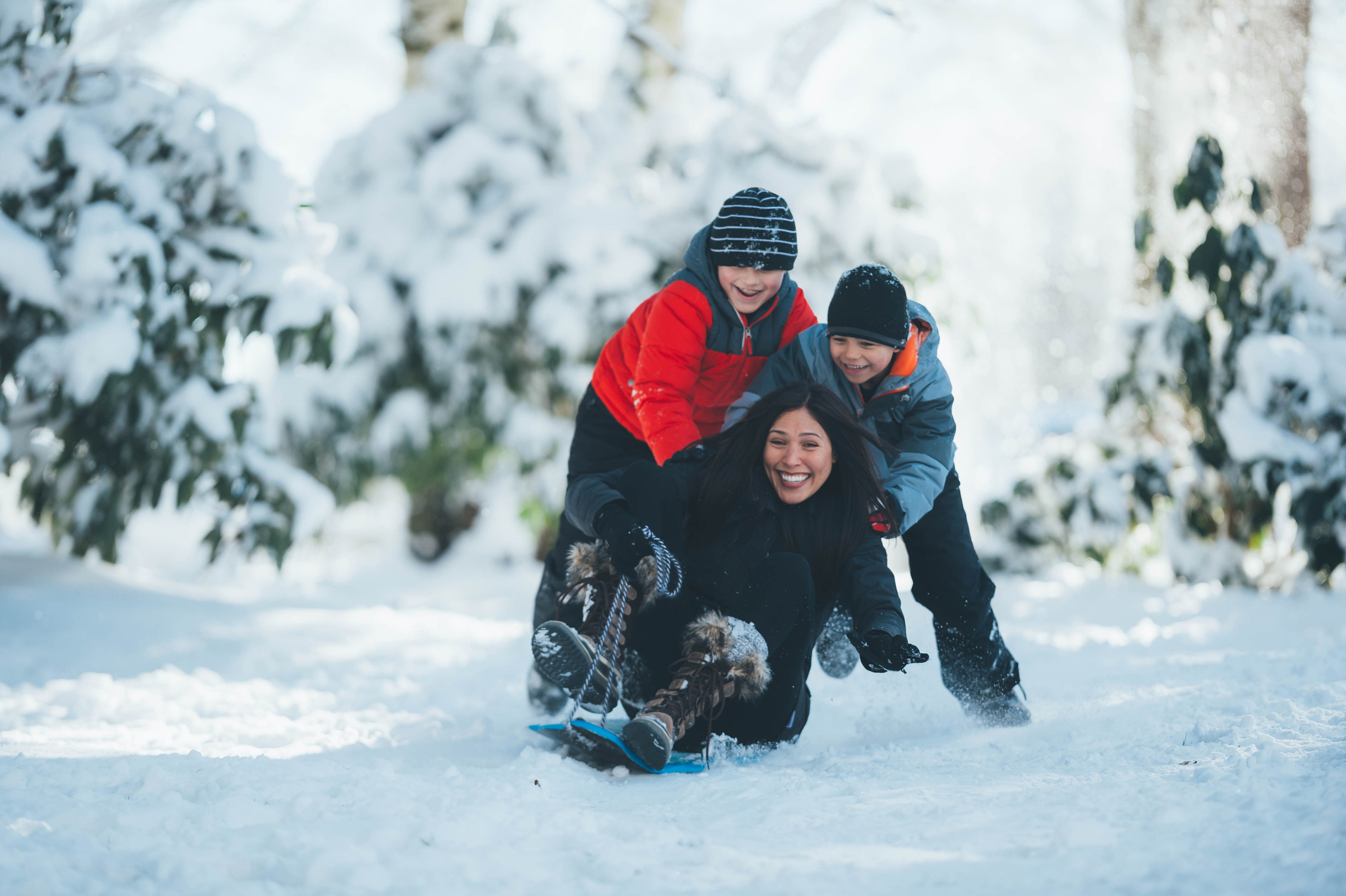 mom and sons sledding
