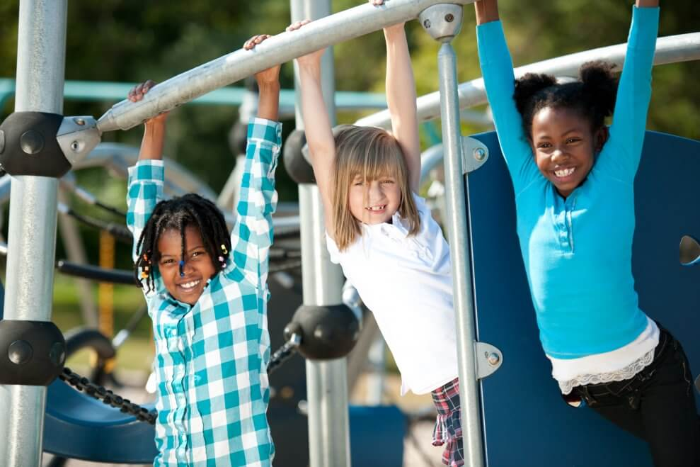 Kids playing at park on monkey bars