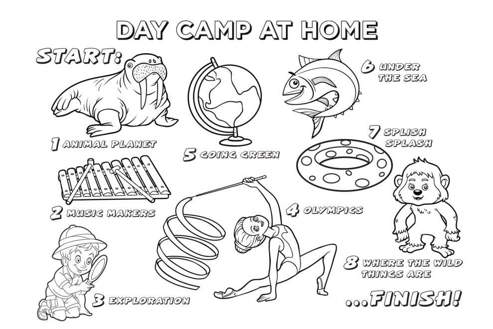 Day camp colouring sheet