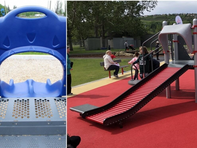 Slides with transfer stations